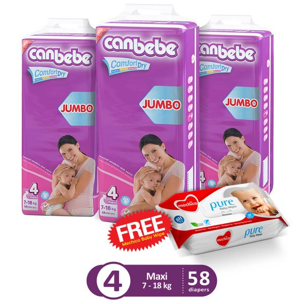 Canbebe Pack Of 3 Jumbo Pack For Maxi 58Pcs (Get 1 Mechico Wipes Pack Free)