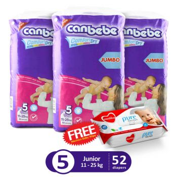Canbebe Pack Of 3 Jumbo Pack For Junior 52Pcs (Get 1 Mechico Wipes Pack Free)