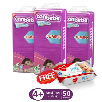 Canbebe Pack Of 3 Jumbo Pack For Maxi Plus 50Pcs (Get 1 Mechico Wipes Pack Free)