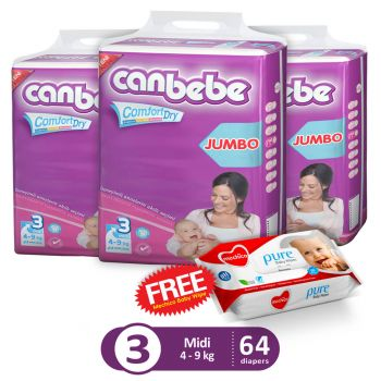 Canbebe Pack Of 3 Jumbo Pack For Midi 64Pcs (Get 1 Mechico Wipes Pack Free)