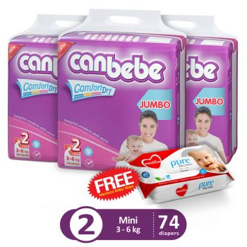 Canbebe Pack Of 3 Jumbo Pack For Mini 74Pcs (Get 1 Mechico Wipes Pack Free)