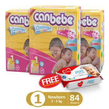 Canbebe Pack Of 3 Jumbo Pack For Newborn 84Pcs (Get 1 Mechico Wipes Pack Free)