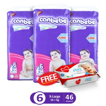 Canbebe Pack Of 3 Jumbo Pack For Xlarge 46Pcs (Get 1 Mechico Wipes Pack Free)