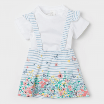 H&M Baby Skirt with Straps & Top Set - White Blue