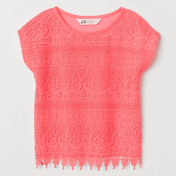 H&M Lace Top Soft Jersey Half Sleeves - Neon Pink