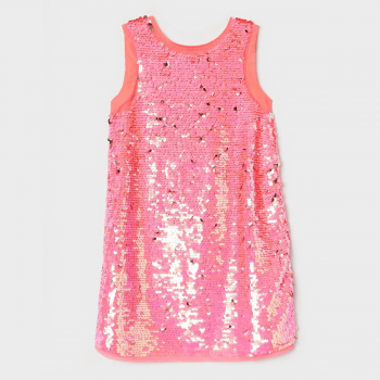 H&M Sleeveless Sequined Dress in Woven Fabric - Neon Pink