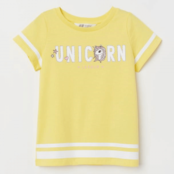 H&M Unicorn T-Shirt Soft Cotton Jersey with Printed