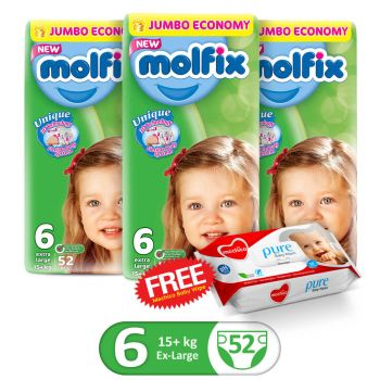 Molfix Pack Of 3 3D XLarge 52Pcs Jumbo Size 6 (Get 1 Mechico Wipes Pack Free)