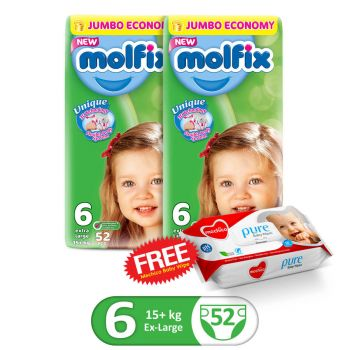 Molfix Pack Of 2 3D XLarge 52Pcs Jumbo Size 6 (GET 1 MECHICO WIPES PACK FREE)