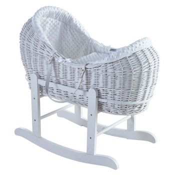 Kinder Valley White Dimple White Pod Moses Basket With White Rocking Stand