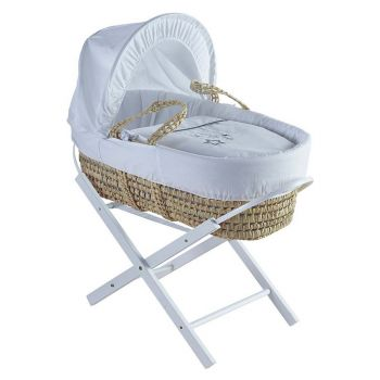 Kinder Valley White Wish Upon A Star Palm Moses Basket With Folding Stand White