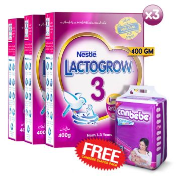 Buy 3 Lactogrow-3 400gms + FREE Canbebe Diapers SIZE 3 (8PCS)