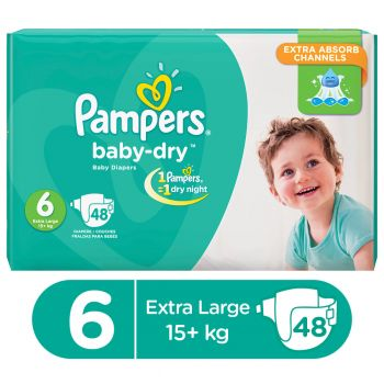 Pampers Mega Pack Baby Dry Diapers XX Large Size 6 (48 Count)