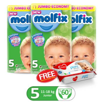 Molfix Pack Of 3 3D Jumbo Pack Junior 60Pcs Size 5 (Get 1 Mechico Wipes Pack Free)