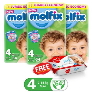 Molfix Pack Of 3 3D Jumbo Pack Maxi Size 4 64Pcs (Get 1 Mechico Wipes Pack Free)