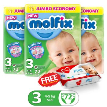 Molfix Pack Of 3 3D Jumbo Pack 72Pcs Midi Size 3 (Get 1 Mechico Wipes Pack Free)