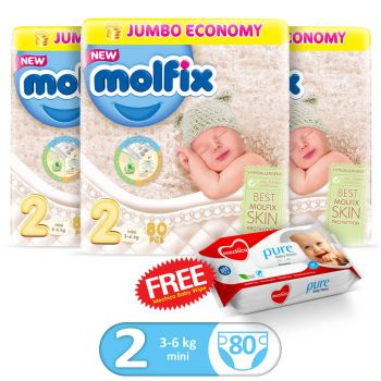 Molfix Pack Of 3 3D Mini 80Pcs Jumbo Size 2 (Get 1 Mechico Wipes Pack Free)