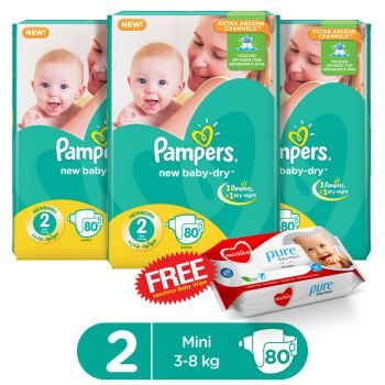 Pampers Pack Of 3 Mega Pack Baby Dry Diapers Small Size 2 (80 Count) (Get 1 Mechico Wipes Pack Free)