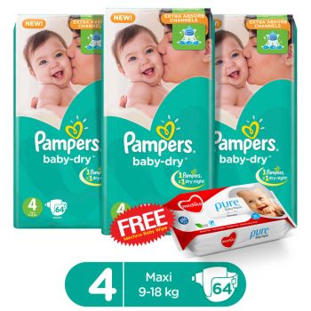 Pampers Pack Of 3 Mega Pack Baby Dry Diapers Large Size 4 (64 Count) (Get 1 Mechico Wipes Pack Free)