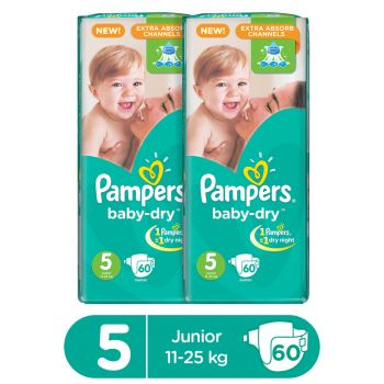 Pampers Pack Of 2 Mega Pack Baby Dry Diapers Junior Size 5 XL (60 Count)
