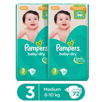 Pampers Pack Of 2 Mega Pack Baby Dry Diapers Medium Size 3 (72 Count)