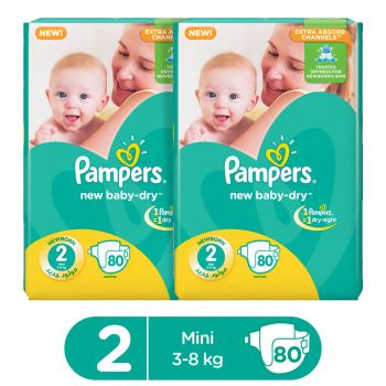Pampers Pack Of 2 Mega Pack Baby Dry Diapers Small Size 2 (80 Count)