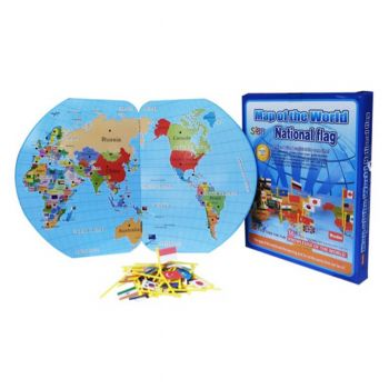 Planet X Educational Wooden World Map With 36 National Flags For Montessori Kids (PX-10503)