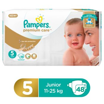 Pampers Premium Care Mega Pack Diapers Junior Size 5 (48 Count)