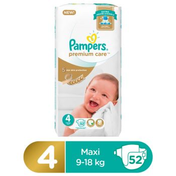 Pampers Premium Care Mega Pack Diapers Large Size 4 (52 Count)