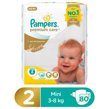 Pampers Premium Care Mega Pack Diapers Small Size 2 (80 Count)