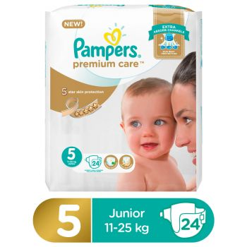 Pampers Premium Care Value Pack Diapers Junior Size 5 (24 Count)