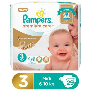 Pampers Premium Care Value Pack Diapers Medium Size 3 (29 Count)