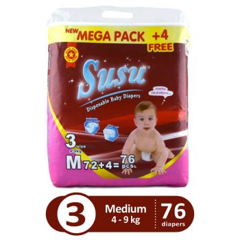 Susu Magic Diapers Mega Pack Medium 76Pcs